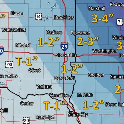 Winter storm warning in effect for Sioux Falls, nearby areas