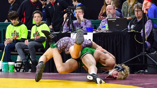 Pierre's Jack Van Camp wrestles at last year's state meet. Van Camp is seeded fifth at 138 pounds at this year's state tournament.
