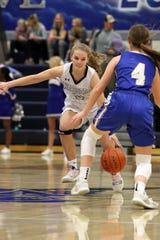 Maddie DeJong of Sioux Falls Christian looks to get past Bailey Nester of West Central during Tuesday's game in Sioux Falls.