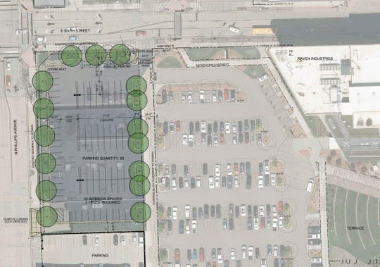 Renderings illustrate the parking lot that Raven Industries plans to build at the corner of Phillips Avenue and Sixth Street in downtown Sioux Falls.
