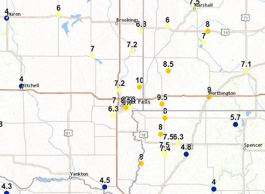 Snowfall totals in inches as of 9:30 a.m. on Wednesday, Feb. 20, 2019 in southeast South Dakota.