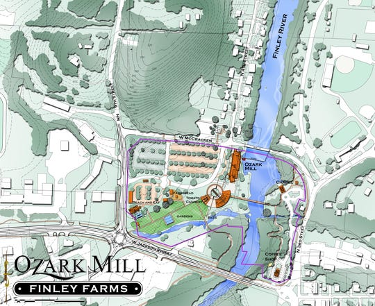 This map shows the 55-acre Finley Farms project in Ozark.