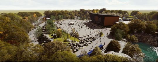 A graphic from Oertel Architects shows the amphitheater being built near a quarry in Waite Park.