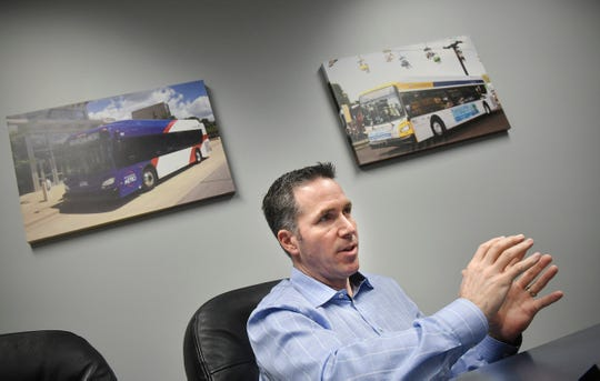 New Flyer of America President Chris Stoddart talks about emerging bus technologies Wednesday, Feb. 20, at the company's manufacturing facility in St. Cloud.