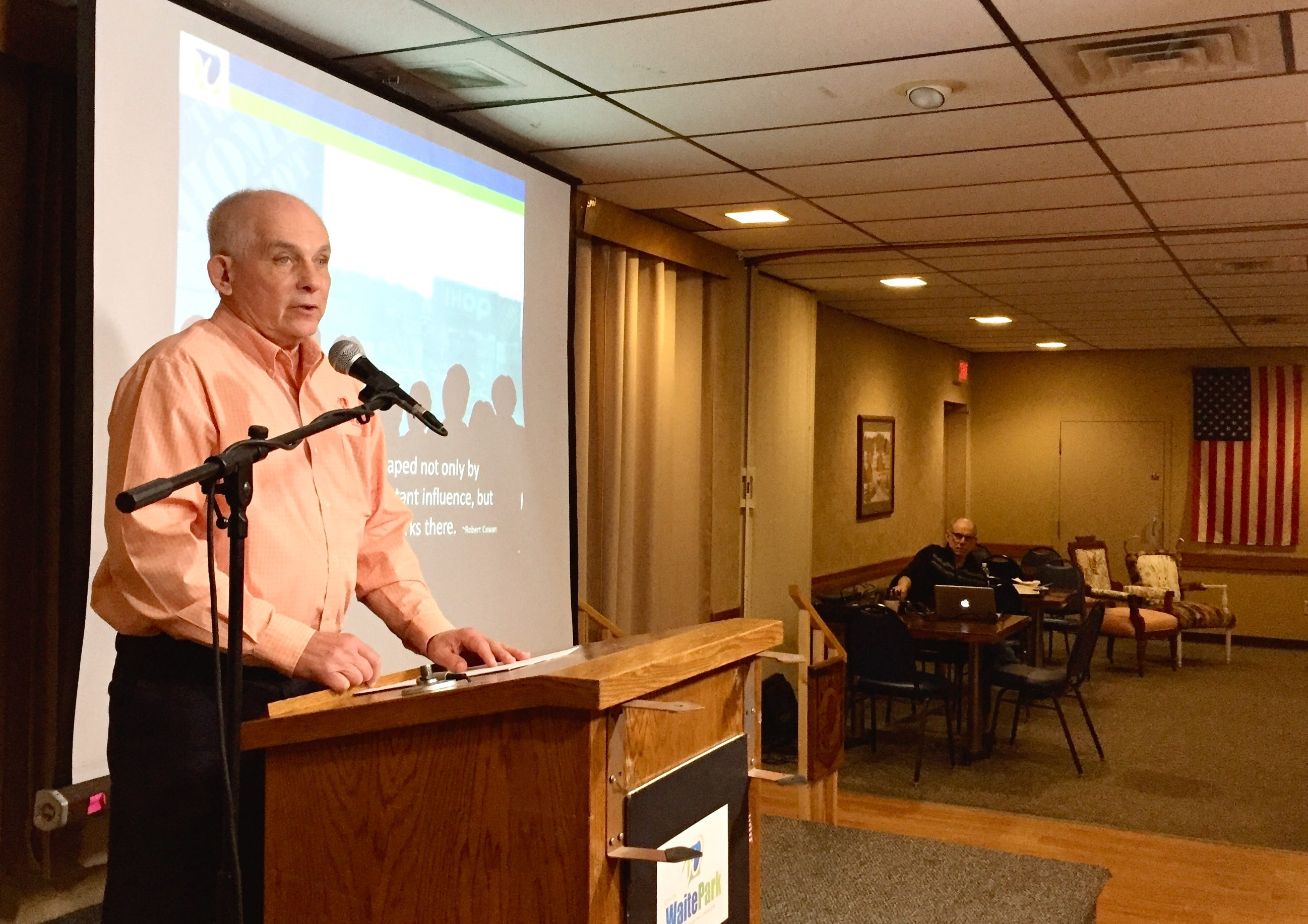 Waite Park Mayor Rick Miller delivers the annual State of the City on Wednesday, Feb. 20, at Waite Park American Legion.