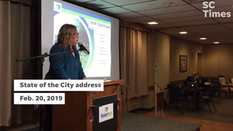 The city administrator talks about the amphitheater project — slated to host 15-20 national acts — at the State of the City address Feb. 20, 2019.