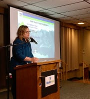 Shaunna Johnson, city administrator for Waite Park, talks about the amphitheater project at the annual State of the City on Wednesday, Feb. 20, at Waite Park American Legion.