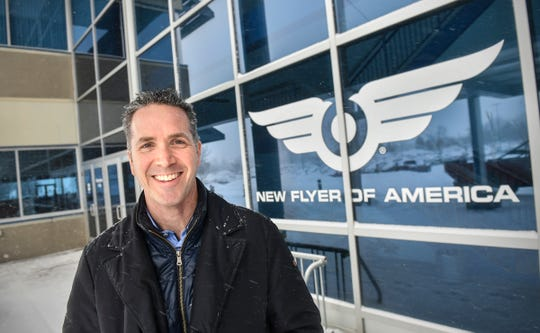 New Flyer of America President Chris Stoddart is pictured Wednesday, Feb. 20, at the company's manufacturing facility in St. Cloud.