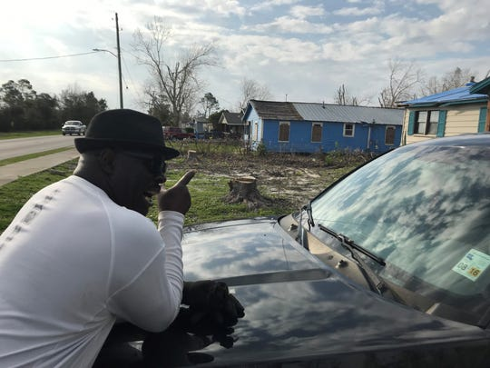 Marcus Shackleford, a neighbor of the Anthonys, discusses the destruction caused by Hurricane Michael on Avenue A in North Port St. Joe.