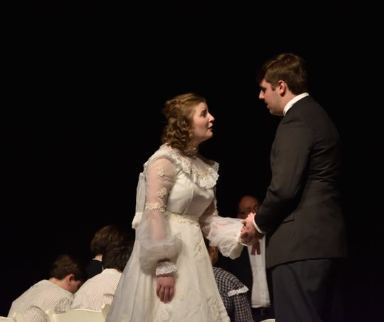 "George Gibbs (Michael Shelfer) and Emily Webb (Jordan Marcum) have a moment just before going to the altar in Monticello Opera House's ""Our Town."""