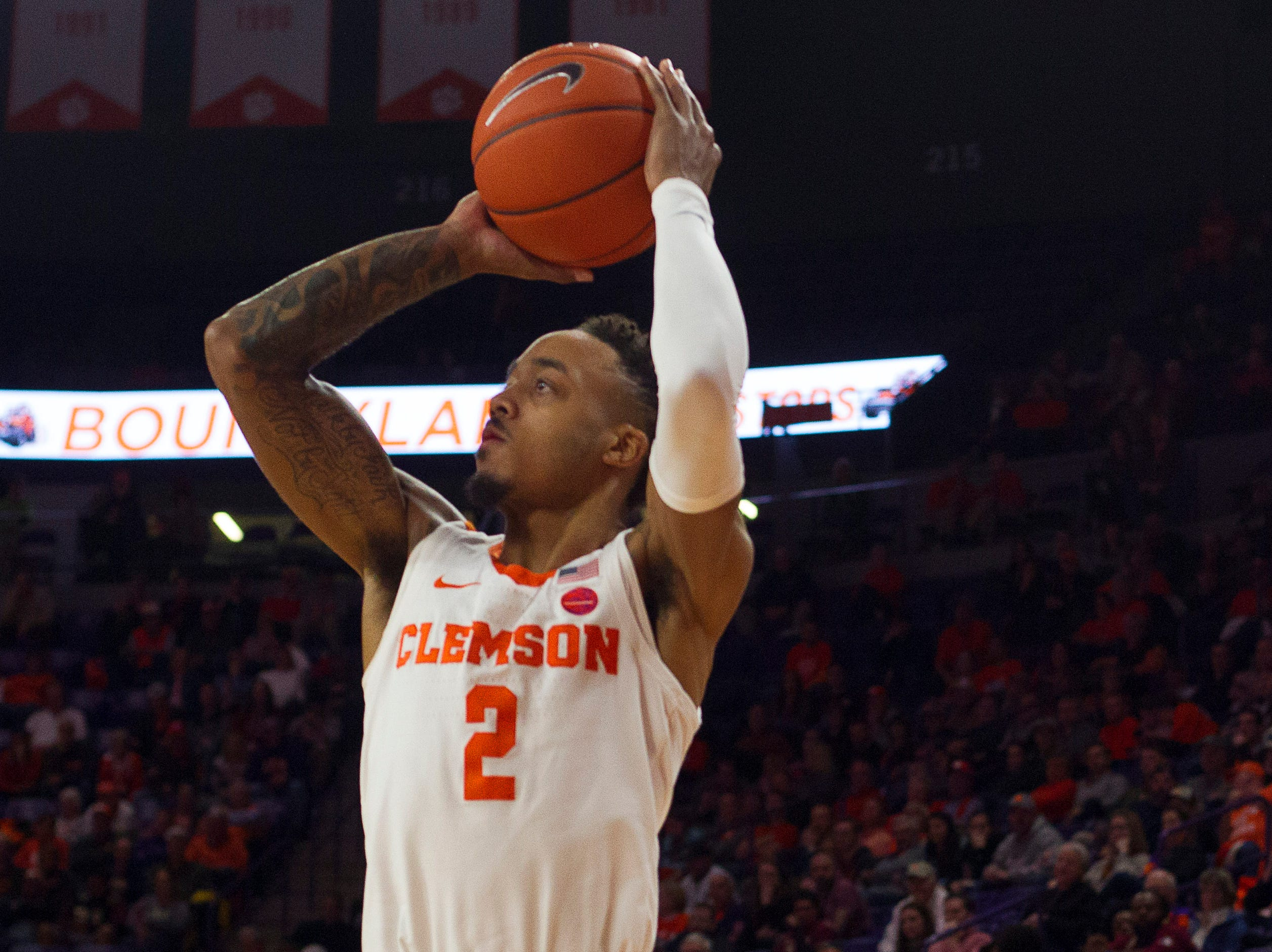 Feb 19, 2019; Clemson, SC, USA; Clemson Tigers guard Marcquise Reed (2) shoots the ball during the second half against the Florida State Seminoles at Littlejohn Coliseum. Seminoles won 77-64. Mandatory Credit: Joshua S. Kelly-USA TODAY Sports