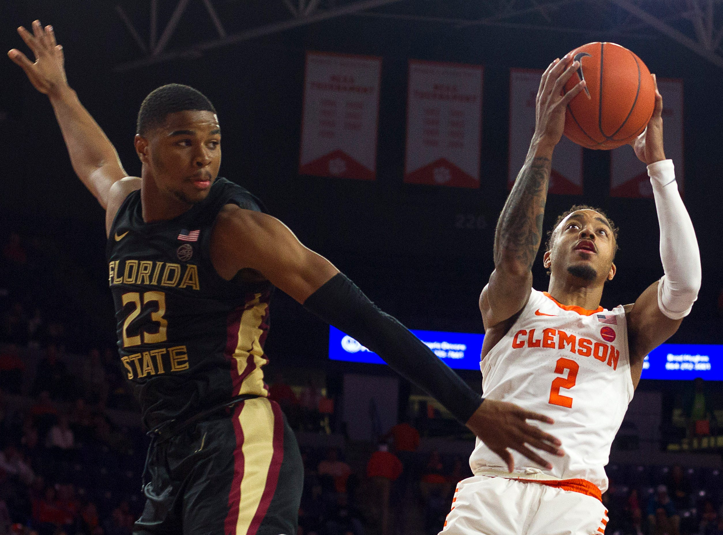 Feb 19, 2019; Clemson, SC, USA; Clemson Tigers guard Marcquise Reed (2) shoots the ball past Florida State Seminoles guard M.J. Walker (23) during the second half at Littlejohn Coliseum. Mandatory Credit: Joshua S. Kelly-USA TODAY Sports