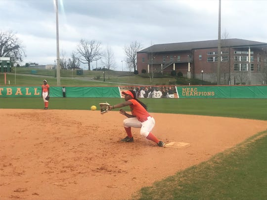 FAMU freshman second baseman Kimiya Wakins covers first base during an infield drill at practice.