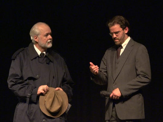 """Joe Stoddard (David Guthrie) and Sam Craig (Brennan Salter) at the cemetery. in Monticello Opera House's """"Our Town."""""""