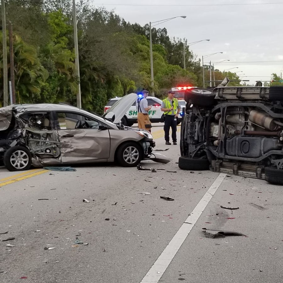 27th Avenue now open after 4-vehicle crash flips SUV onto its side in Indian River County