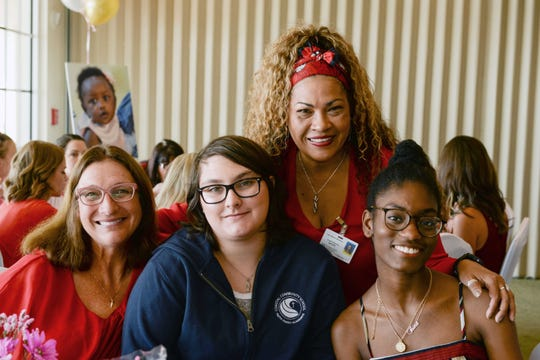 Kate and Angel Crain, left, with Litty Summers and Taina Auguste at the 4KIDS Treasure Coast's inaugural Galentine's Day Brunch in Port St. Lucie.