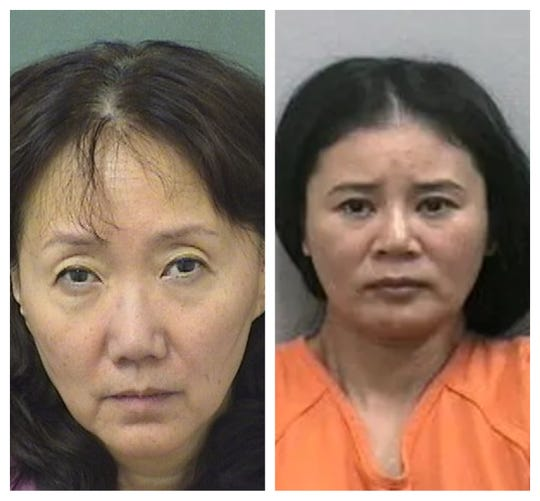 Hua Zhang, 58, left, and Lei Wang, 39