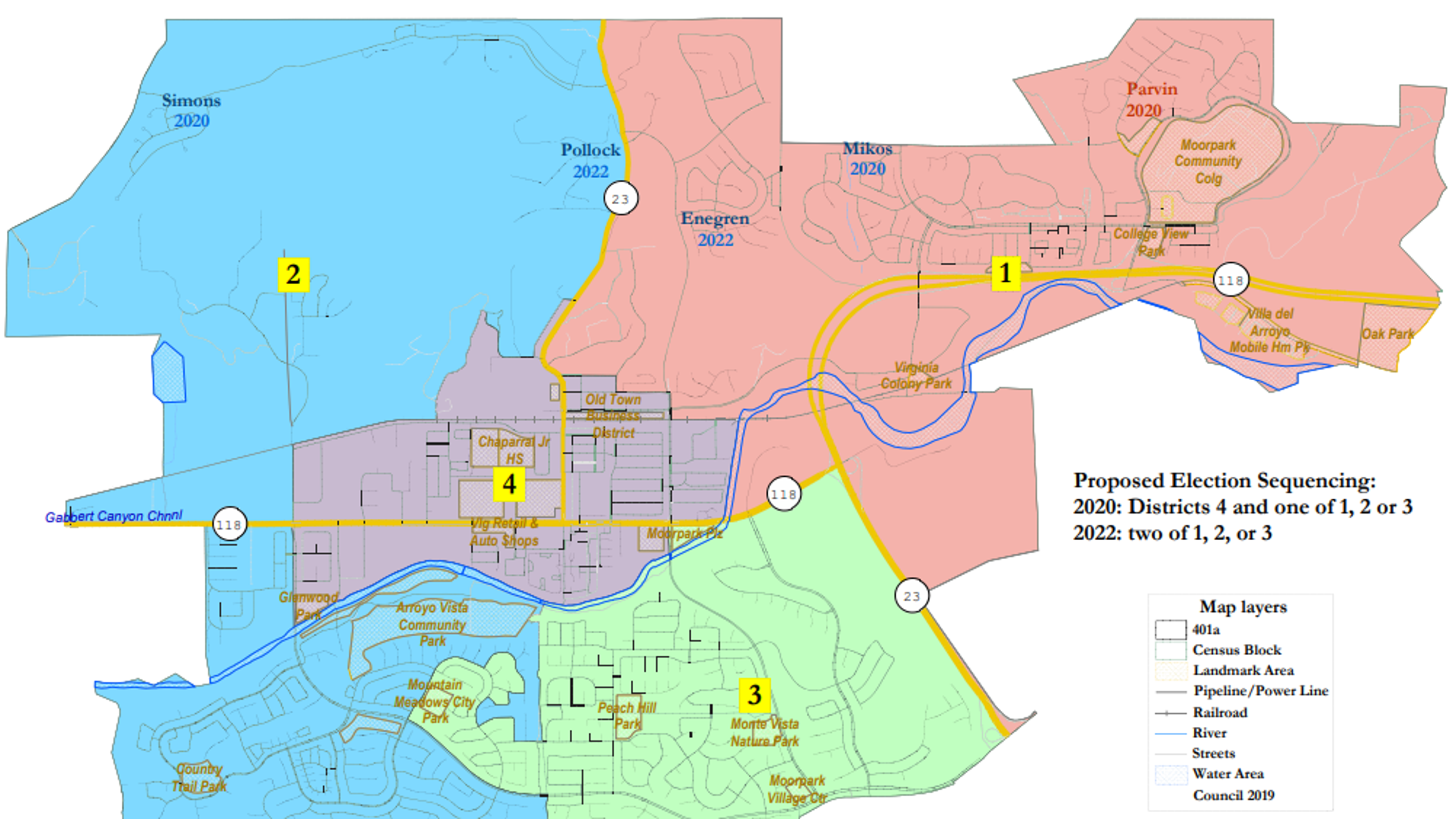 Map 401.Moorpark Nears Decision On Maps For District Based Elections