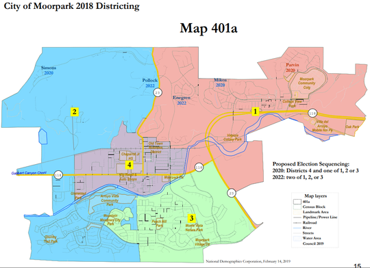 The city of Moorpark whittled down its options for district-based elections to three maps, including this one.