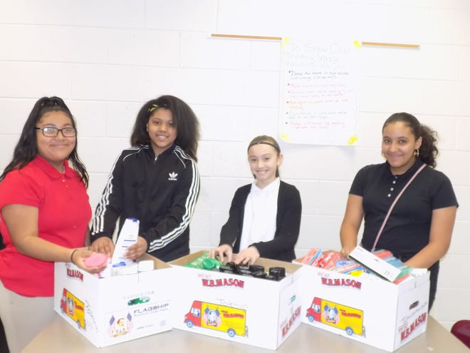 A variety of toiletries were collected as part of Wallace Middle School's second annual Martin Luther King Jr. Day of Service project.