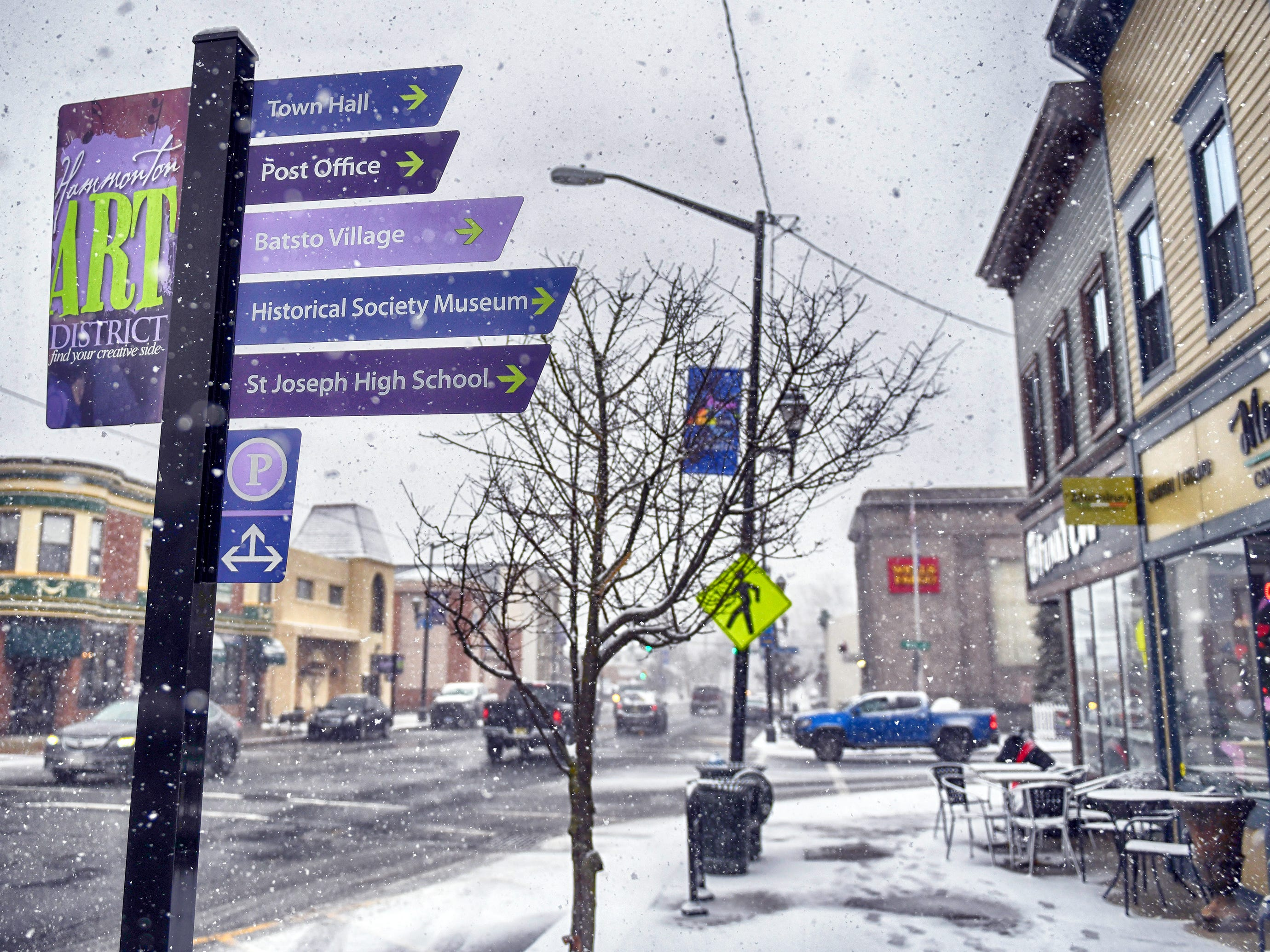 Snow scenes from Hammonton Main Street pictured here on Wednesday, Feb. 20, 2019.