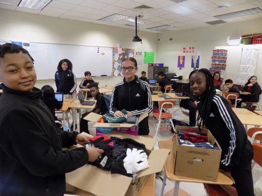 Many hats and gloves were collected during Wallace Middle School's second annual Martin Luther King Jr. Day of Service project.