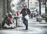 Ricky Alverio, owner of the Funky Cow Cafe´ on Main Street in Hammonton, talks about South Jersey's wintery mix of snow, ice and sleet on Wednesday, Feb. 20, 2019.