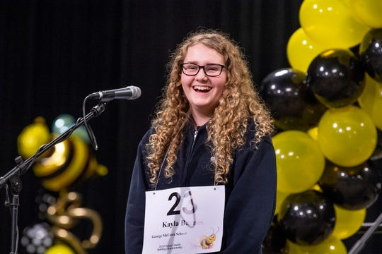 Kayla Barnes from George McCann School wins the 20th Annual Tulare County Spelling Championship on Wednesday, February 20, 2019