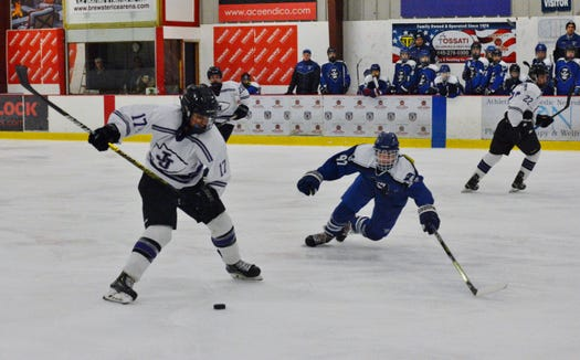 John Jay marched into the semifinals of the Section 1 Division II with a 5-3 win over Pearl River on Tuesday, Feb. 19, 2019 at Brewster Ice Arena. Tyler Wishart had two goals and one assist to lead the Indians.