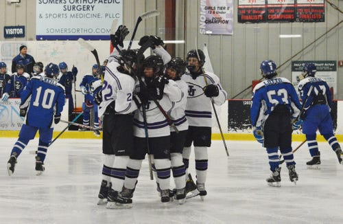 John Jay celebrates a third-period goal by Mattie Wierl in a Division II opening-round game on Tuesday, Feb. 19, 2019 at Brewster Ice Arena.