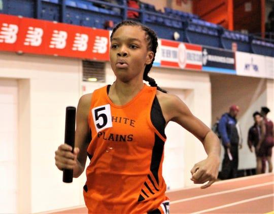 Taylor Johnson runs anchor leg for White Plains during 2019 Eastern States Championships girls 4x400 relay.