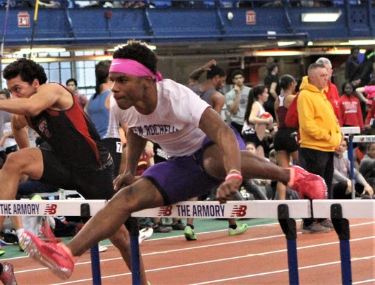 New Rochelle's Jessie Parson wins 55 hurdles heat at the 2019 Eastern States Championships. He finished second, bettering his Section 1-record time to 7.33.