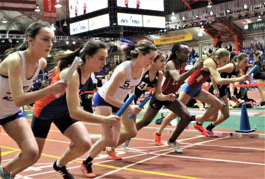 Pearl River's Niamh Durcan (5) and others break with sound of 2019 Eastern States girls 4x800 relay starting gun.