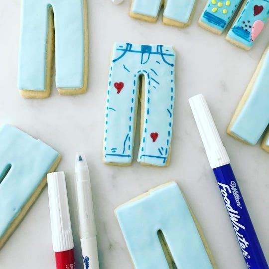 Jeans cookies in honor ofRare Disease Day, created by Nanuet-based Cookie Tray.