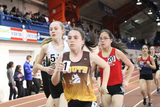 Clarkstown South's Aine Keaney en route to winning Eastern States girls two-mile race Feb. 19, 2019. She set a school record.