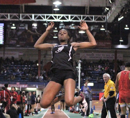 New Rochelle's Chiamaka Odenigbo competes in triple jump at 2019 Eastern Championships. She finished third.
