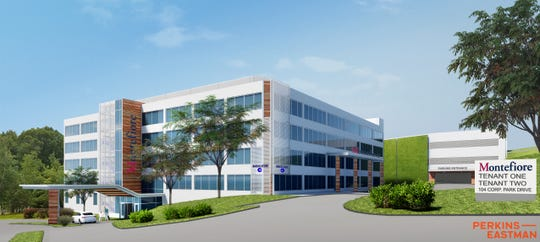 Rendering of new pediatric care ambulatory facility at 104 Corporate Park Drive, Harrison