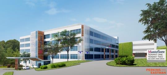 Rendering of new pediatric care ambulatory facility at 104 Corporate Park Drive, Harrison