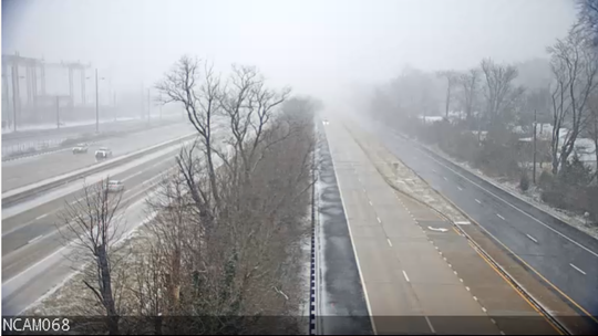 The speed limit on I-495 has been reduced to 55 miles per hour because of the snow.