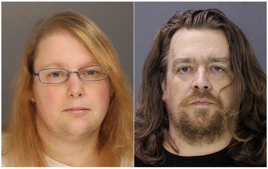 CORRECTS SPELLING OF SARA ON SECOND REFERENCE - FILE - This combination of file photos provided on Sunday, Jan. 8, 2017, by the Bucks County District Attorney shows Sara Packer, left, and Jacob Sullivan. Sullivan pleaded guilty Tuesday, Feb. 19, 2019, to first-degree murder in the 2016 death of 14-year-old Grace Packer. Grace's adoptive mother, Sara Packer, is expected to testify against Sullivan during the penalty phase of his trial. She has agreed to plead guilty and serve a life sentence. (Bucks County District Attorney via AP, File)
