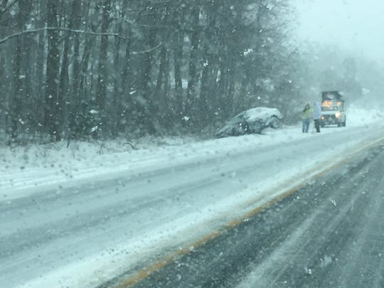 This car crashed into the ditch on Wrangle Hill Road today, according to DelDOT.