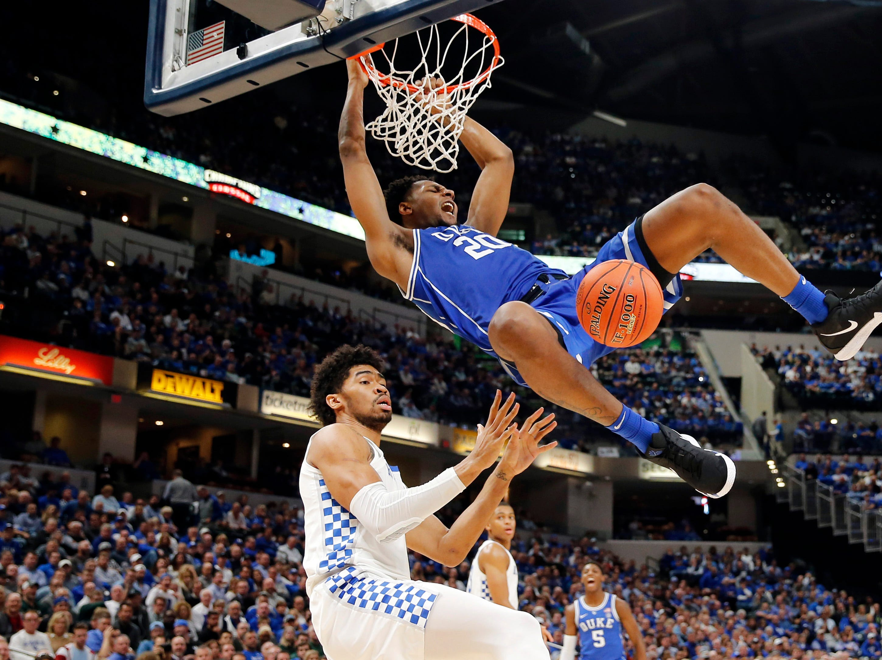 Nov. 6: Duke Blue Devils center Marques Bolden (20) dunks against Kentucky Wildcats forward Nick Richards (4) in the second half of the Champions Classic.