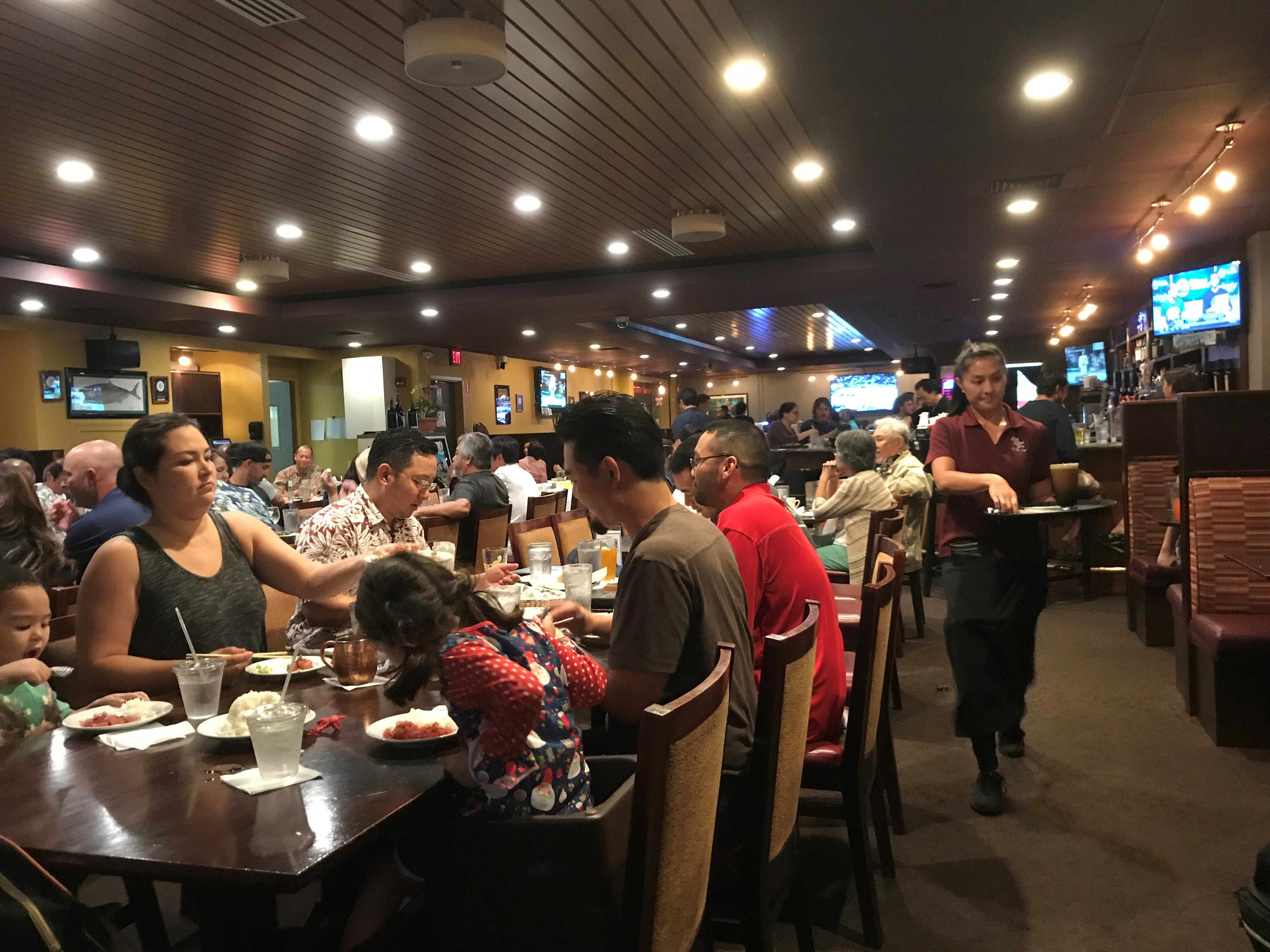 Because food is served in big portions for sharing, the Side Street Inn is very popular with Honolulu locals for family gatherings.