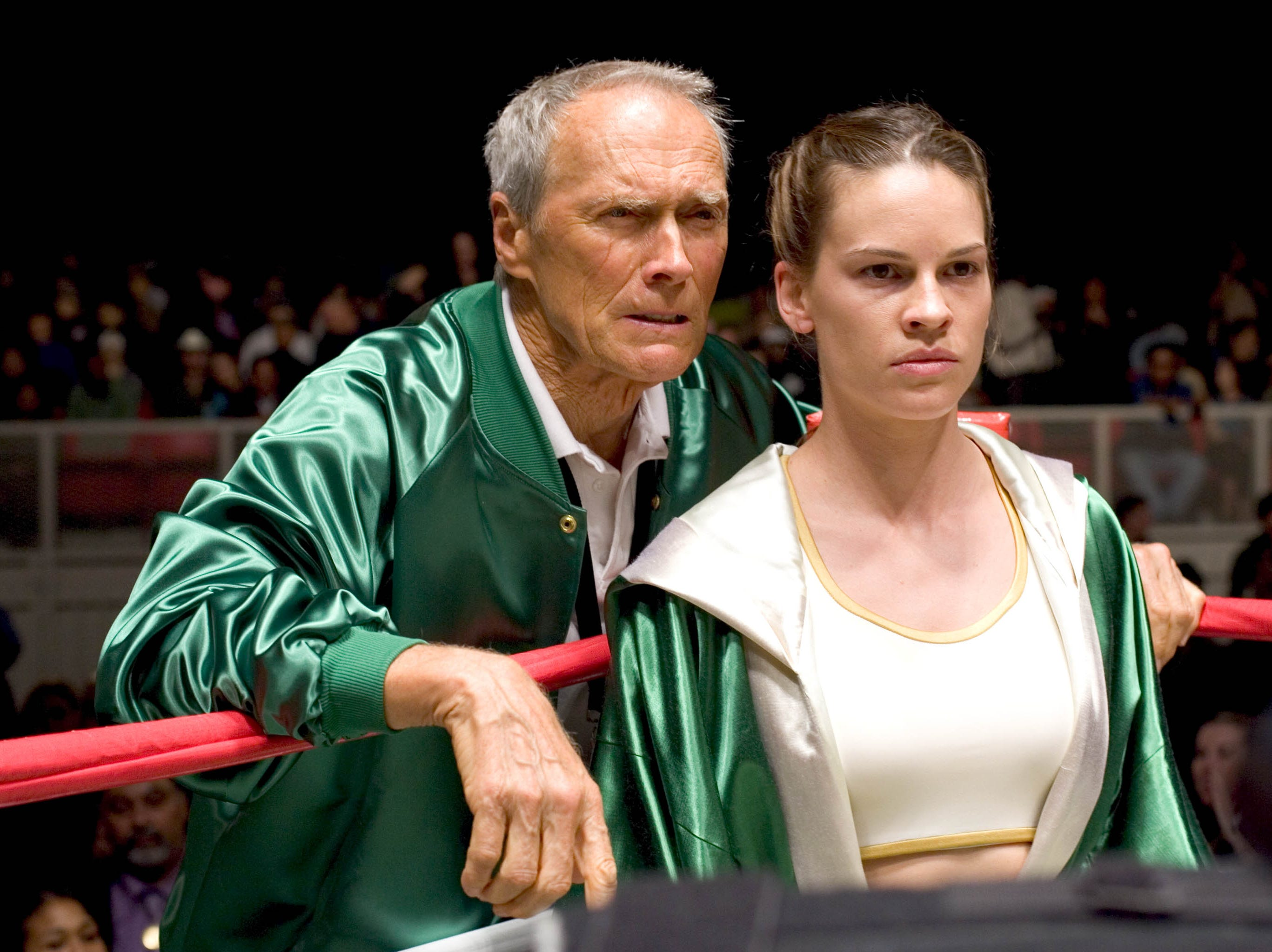 Clint Eastwood and Hilary Swank in a scene from the motion picture 'Million Dollar Baby.'