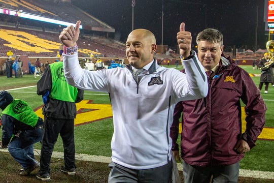 Minnesota Golden Gophers head coach P.J. Fleck celebrates after defeating the Indiana Hoosiers at TCF Bank Stadium.