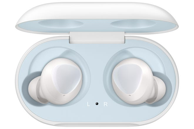 Samsung Galaxy Buds in their charging case.