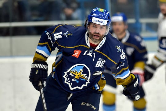 Ex-NHL player Jaromir Jagr plays for Kladno  against Havirov during their First Czech Hockey League match, in Havirov, Czech Republic.