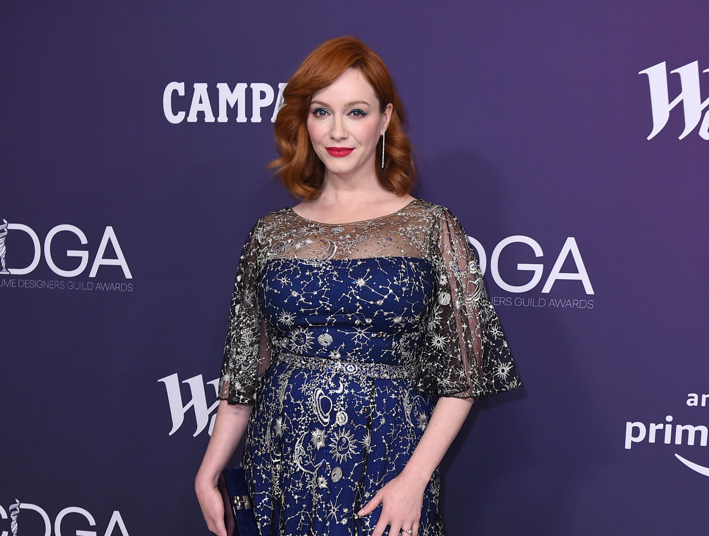 Christina Hendricks arrives at the 21st annual Costume Designers Guild Awards at The Beverly Hilton Hotel on Tuesday, Feb. 19, 2019, in Beverly Hills, Calif. (Photo by Jordan Strauss/Invision/AP) ORG XMIT: CAPM139