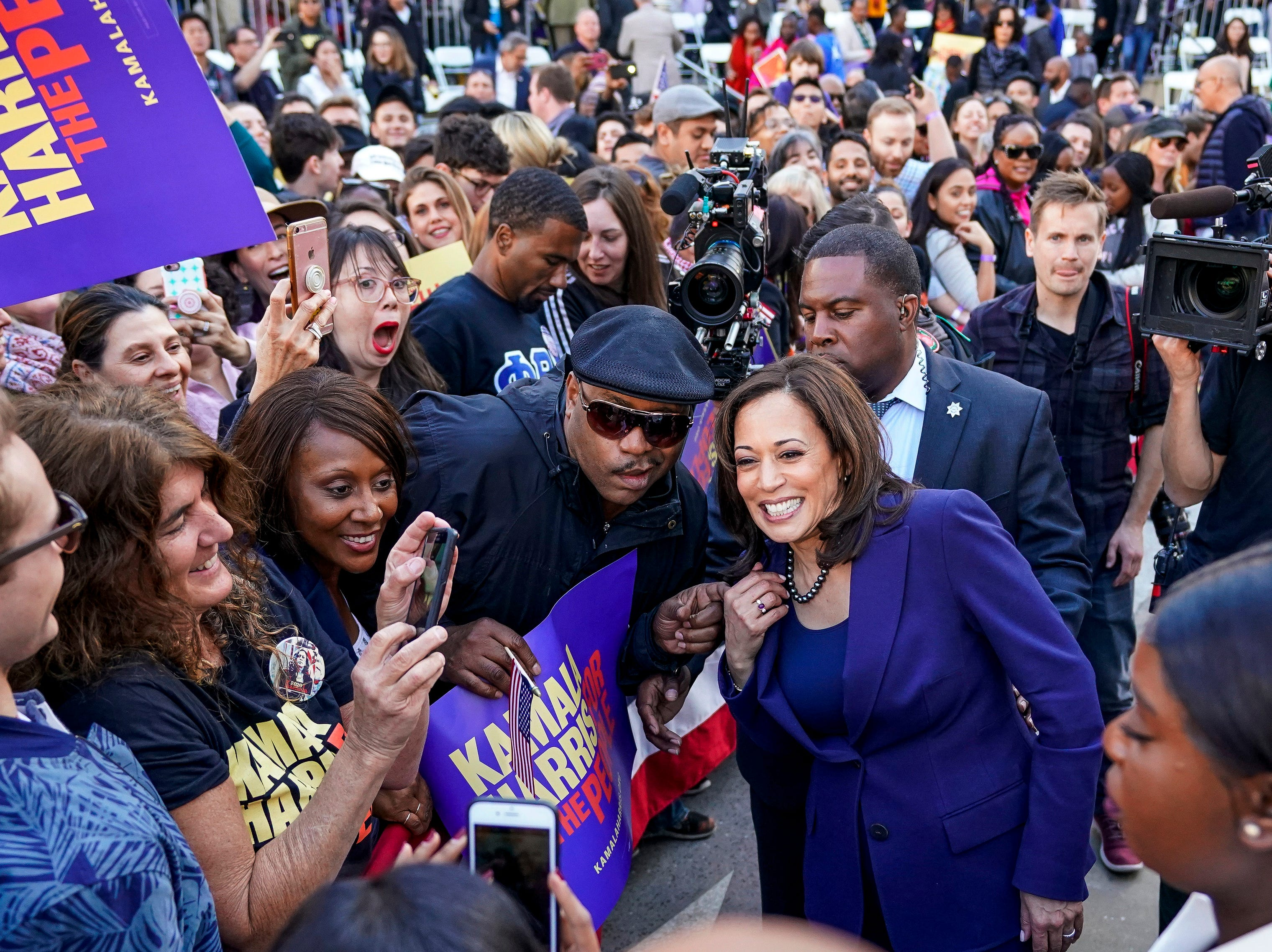 Supporters take photos with U.S. Sen. Kamala Harris, D-Calif. launched her presidential campaign on Jan. 27, 2019.