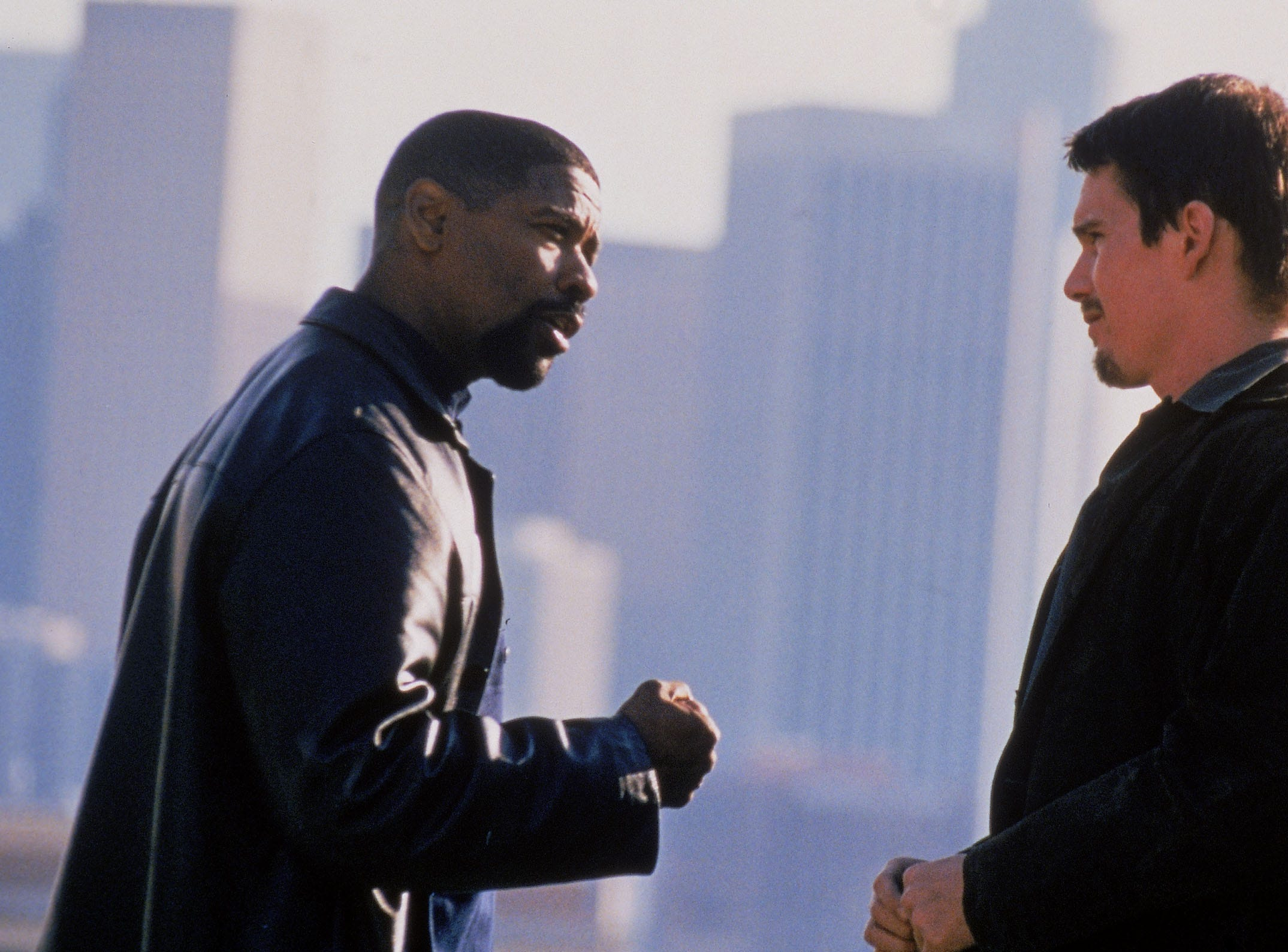 Denzel Washington, left, and Ethan Hawke in a scene from the motion picture 'Training Day.'